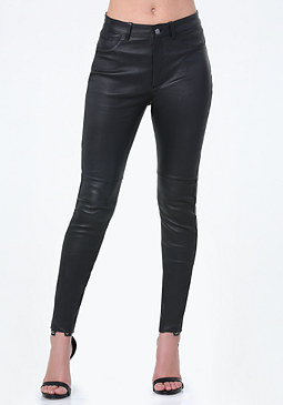 bebe Leather High Rise Jeans