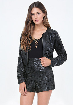 bebe Coated Lace Bomber Jacket