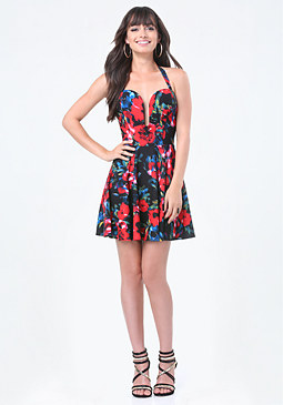 bebe Print Back Crisscross Dress