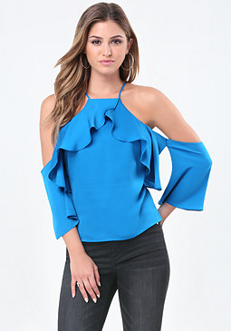 bebe Ruffled Bare Shoulder Top