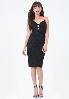 Lace Strap Trim Midi Dress