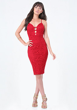 bebe Lace Strap Trim Midi Dress
