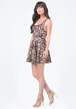 bebe Print Buckle Flared Dress