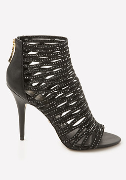 bebe Mayra Jeweled Cage Sandals