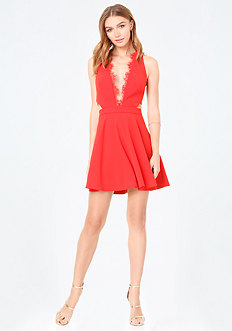 Scallop Lace Trim Dress