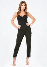 bebe Side Laced Bustier Jumpsuit