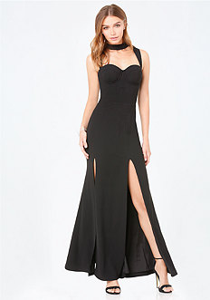 Mock Neck Cutout Gown