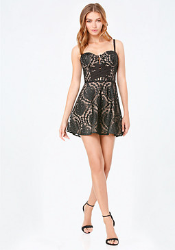 bebe Embroidered Bustier Dress