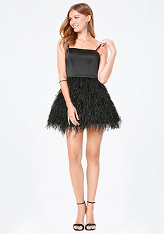 Feather Fit & Flare Dress