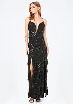 bebe Feather Plunge Gown