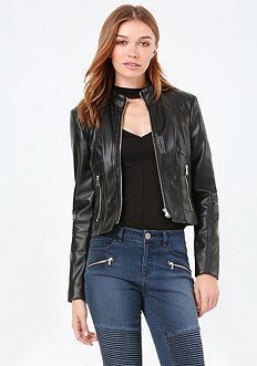 Fitted Faux Leather Jacket