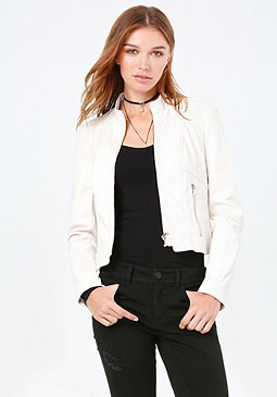 bebe Fitted Faux Leather Jacket
