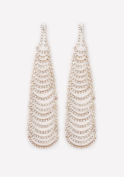 bebe Crystal Ladder Earrings