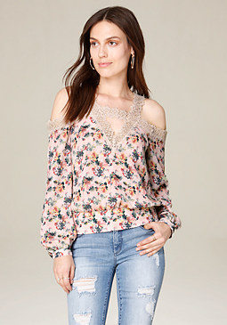 bebe Print & Lace Shoulder Top