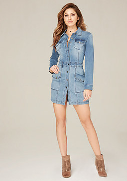 bebe Denim Cargo Dress