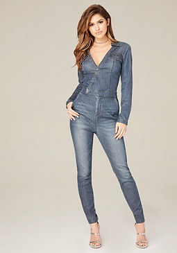 bebe Pinstriped Denim Jumpsuit