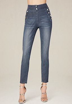 bebe Pinstripe High Waist Pants
