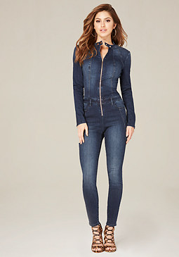 bebe Denim Racer Jumpsuit