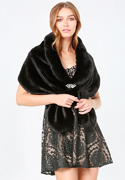 bebe Jewel Detail Faux Fur Shrug