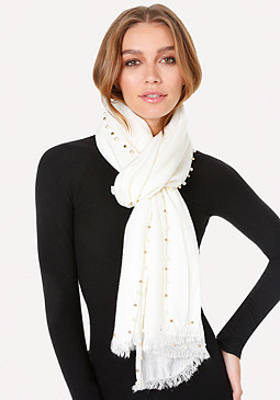 Pearlescent & Bead Scarf at bebe
