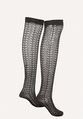 bebe Pointelle Thigh High Socks