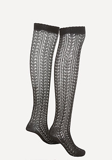 Pointelle Thigh High Socks