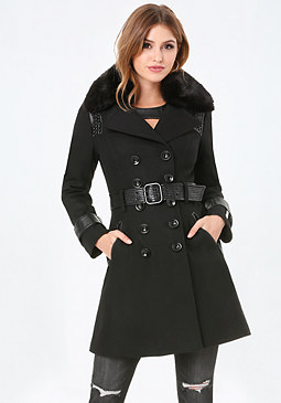 bebe Studded Wool Blend Coat
