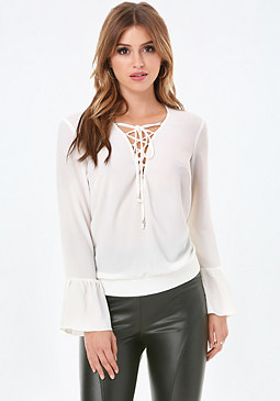 bebe Flounce Sleeve Lace Up Top