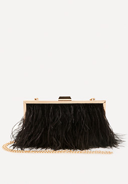 bebe Ella Feather Clutch