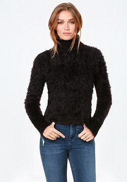 bebe Eyelash Turtleneck Sweater