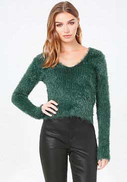 bebe Eyelash Ribbed V Sweater