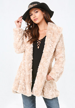 bebe Faux Fur Swing Coat