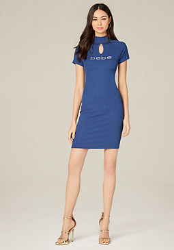 bebe Logo Back Lace Up Dress