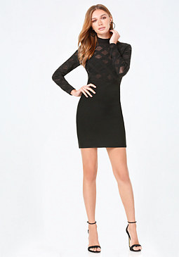 bebe Crisscross Mesh Dress