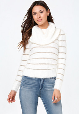 bebe Metallic Striped Sweater