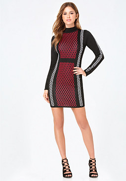 bebe Ivy Jacquard Sweater Dress
