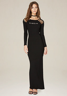 bebe Logo Cage Detail Maxi Dress
