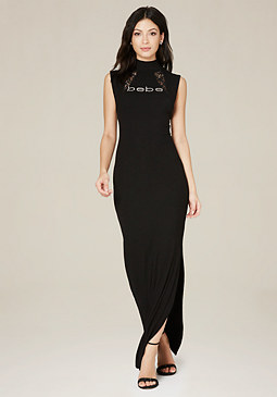 bebe Logo Lace Inset Maxi Dress