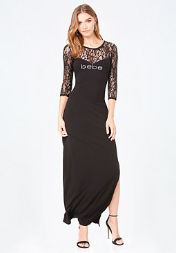 bebe Logo Lace Detail Maxi Dress