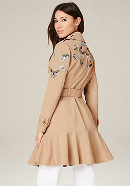 bebe Embroidered Trench Coat