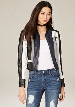 bebe Colorblock Moto Jacket