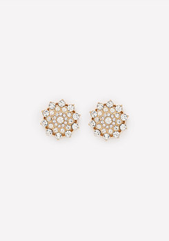 bebe Crystal Flower Earrings