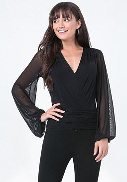 bebe Blouson Sleeve Surplice Top