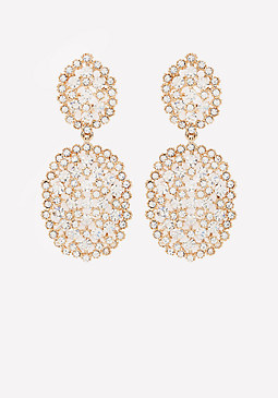bebe Crystal Filigree Earrings