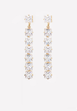 bebe Geo Crystal Linear Earrings