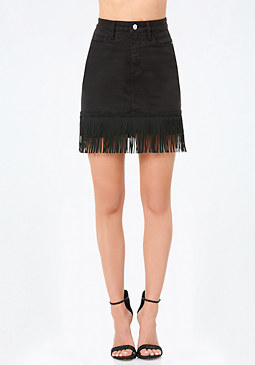 bebe Fringed Denim Miniskirt