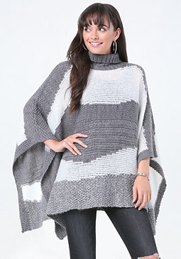 bebe Abstract Striped Poncho