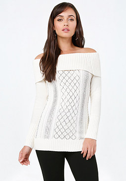 bebe Cable Off Shoulder Sweater