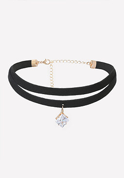 bebe Crystal Drop Double Choker