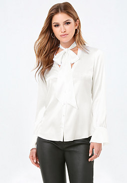 bebe Silk Tie Neck Blouse